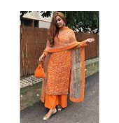 Semi-Stitched Free Size Embroidery Soft Indian Georgette Jorjet Palazzo Shalwar Kameez Three Piece color Orange