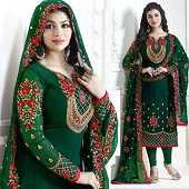 Indian Three-Piece Weightless Georgette Shalwar Kameez. UnStitched Embroidery Work Free Size - Party/Wedding Wear Suits for Women color Green