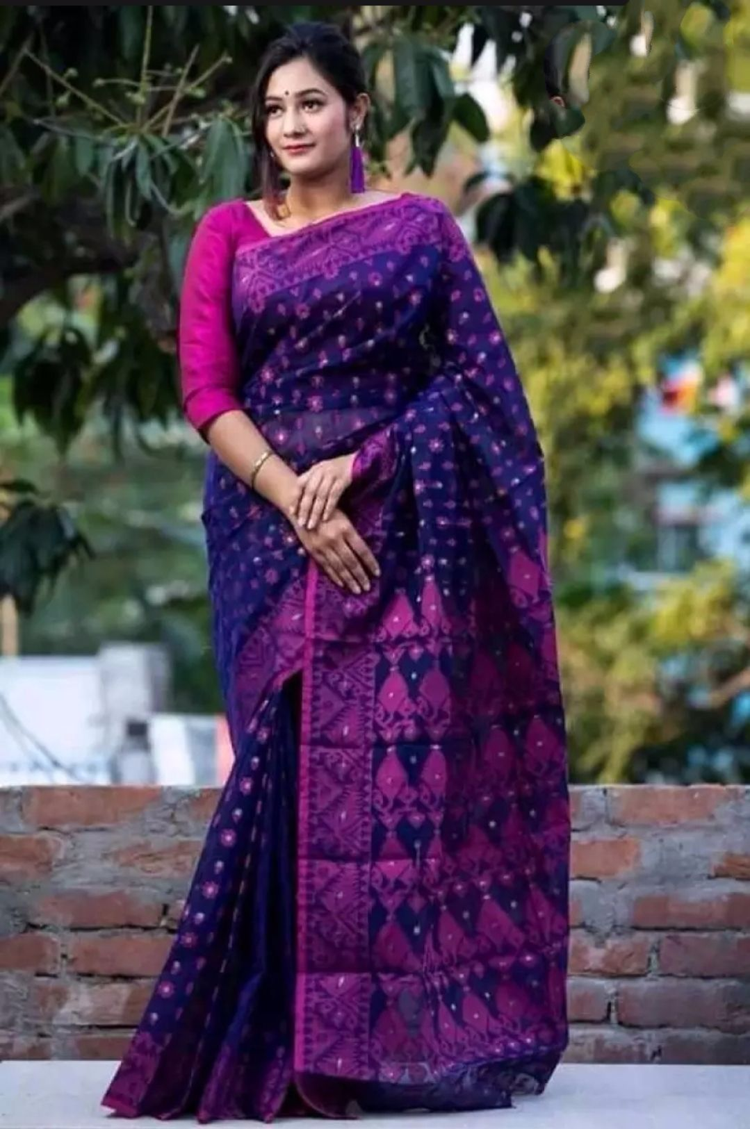 Traditional Unstitched Wetless Jamdani Sari for Women in Sparkling Collection with Dazzling Design Rip-Plum-Purple Heavy Curved Work