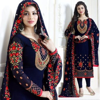 Indian Three-Piece Weightless Georgette Shalwar Kameez. UnStitched Embroidery Work Free Size - Party/Wedding Wear Suits for Women