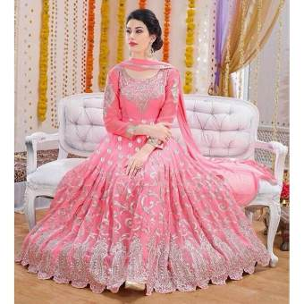 Light Pink Georgette Semi Stitched Gown for Women